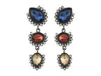 Guess Triple Stone Drop Earrings Hematite Burgundy Navy Earring Multi