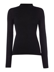 Therapy Anya Lurex Rollneck Top Black
