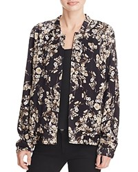 Guess Printed Bomber Jacket Luxe Gardens Jet Black