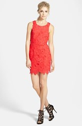 Astr Women's Textured Floral Body Con Dress Bright Coral