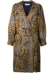 Yves Saint Laurent Vintage Animal Print Coat Brown