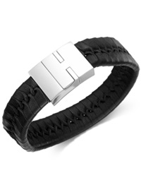 Sutton By Rhona Sutton Men's Stainless Steel And Braided Black Leather Bracelet