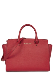 Michael Kors Selma Large Red Saffiano Leather Tote