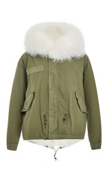 Mr And Mrs Italy Army Fur Lined Mini Parka White