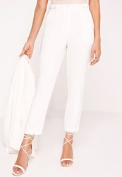 Missguided Button Detail Cigarette Trousers White White