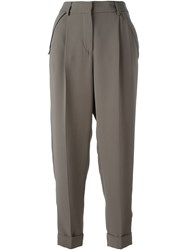 Giorgio Armani Turn Up Hem Trousers Grey