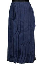 Tibi Silk Organza Paneled Satin Midi Skirt Blue