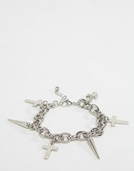 Asos Cross And Spike Chain Bracelet Rhodium Silver