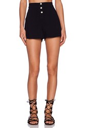 Monrow Palm Print Crepe High Waist Flare Short Navy