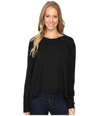 Mod O Doc Cotton Modal Spandex French Terry Crossover Back Long Sleeve Pullover Black Women's Long Sleeve Pullover