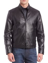Armani Collezioni Croc Embossed Leather Jacket Black