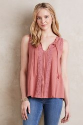 Anthropologie Laced Tie Neck Tank Plum