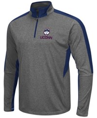 Colosseum Men's Connecticut Huskies Atlas Quarter Zip Pullover Charcoal Navy