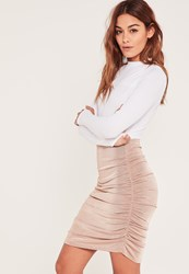 Missguided Pink Slinky Ruched Side Knee Length Skirt Rose