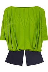 Vionnet Pleated Wool And Angora Blend Top Green