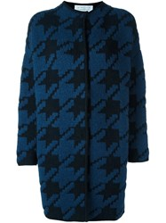 Gianluca Capannolo Houndstooth Pattern Cardi Coat Blue