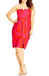 Plus Size Women's City Chic 'Sexy Mono' Print Strapless Sheath Dress