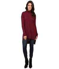 Splendid Cashmere Blend Turtleneck Tunic Cranberry Women's Sweater Red