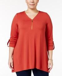 Jm Collection Plus Size Front Zip Handkerchief Hem Top Only At Macy's Rusty Red