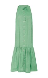 Christine Alcalay Solid Cotton Oxford Dress Green