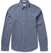 Slim Fit Button Down Collar Check Cotton Shirt Blue