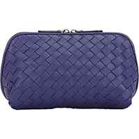 Bottega Veneta Women's Intrecciato Medium Cosmetic Case Navy
