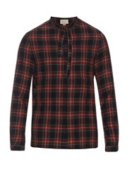 Gucci Cambridge Cotton And Wool Blend Tartan Shirt Red Multi