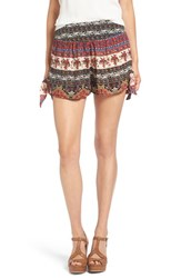 Band Of Gypsies Women's Print Flat Front Shorts Black Beige