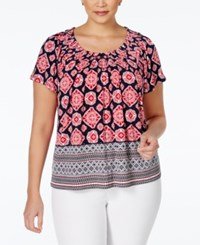 Styleandco. Style And Co. Short Sleeve Printed Blouse Only At Macy's American Scarf
