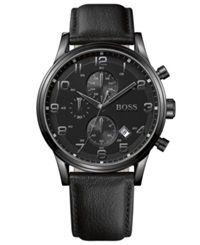 Hugo Boss Watch Men's Chronograph Black Leather Strap 44Mm 1512567