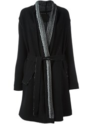 Lost And Found Ria Dunn Contrast Collar Belted Coat Black