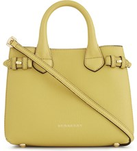Burberry Banner Check Trim Baby Leather Tote Citrus Yellow