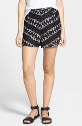 Rvca 'Lower Deck' Print High Waist Shorts Black