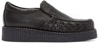 Underground Black Snakeskin Creeper Loafers