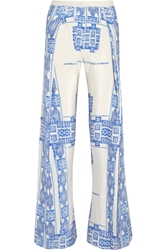 Zeus Dione Alcestes Printed Silk Wide Leg Pants