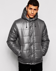 Bellfield Padded Jacket With Hood In Wet Look Charcoal