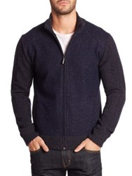 Saks Fifth Avenue Donegal Wool Bomber Jacket Navy
