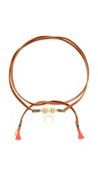 Shashi Tusk Leather Wrap Choker Necklace Brown Multi