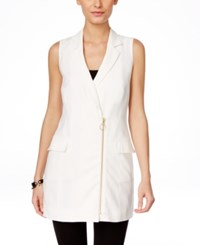 Inc International Concepts Asymmetrical Zip Notched Collar Vest Only At Macy's Bright White