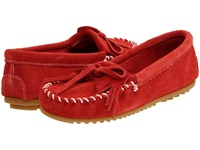 Minnetonka Kilty Suede Moc Red Suede Women's Moccasin Shoes