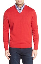 Men's Thomas Dean Regular Fit V Neck Merino Wool Sweater Red