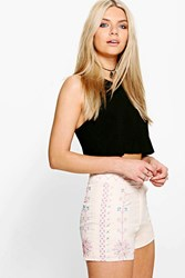 Boohoo Patterned High Waisted Shorts Beige