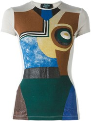 Jean Paul Gaultier Vintage Abstract Print T Shirt Nude And Neutrals