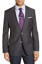 Boss Men's 'Hutsons' Trim Fit Houndstooth Wool Sport Coat Medium Grey