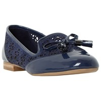 Dune Luvlie Bow Loafers Blue Patent