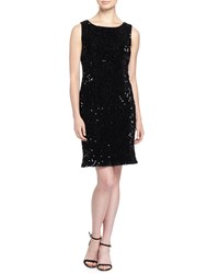 Chetta B Sleeveless Sequined Velvet Dress Blk