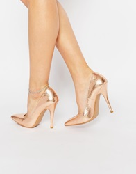Forever Unique Gogo Metallic Court Shoes Rosegold