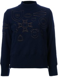 Sacai Badge Embroidered Turtleneck Sweater Blue