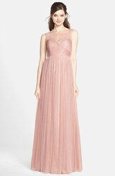 Women's Jenny Yoo 'Aria' Illusion Yoke Pleated Tulle Gown Whipped Apricot