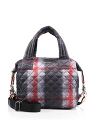 M Z Wallace Sutton Small Plaid Quilted Nylon Tote Multi